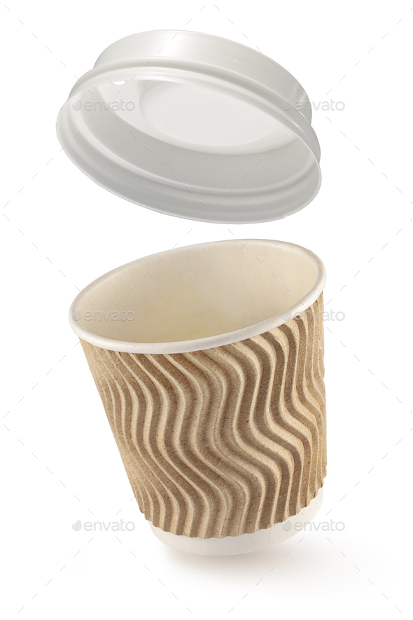 Corrugated fiberboard coffe cup to go isolated on white - Stock Photo - Images