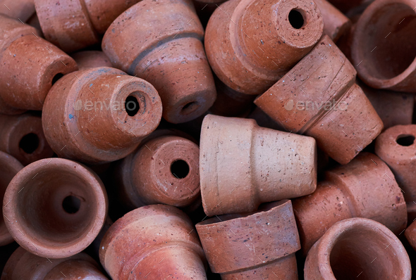 Background of brows clay pots in gardening shop - Stock Photo - Images