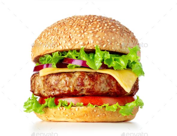 Single fresh burger - Stock Photo - Images