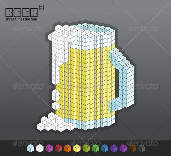 Beer Cubed (3) - Easily Customizable - Objects Vectors