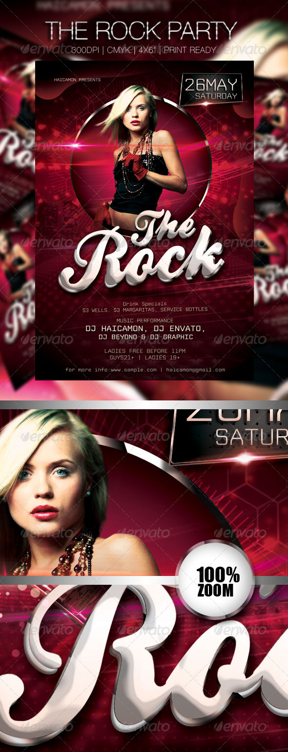 The Rock Party Flyer - Events Flyers