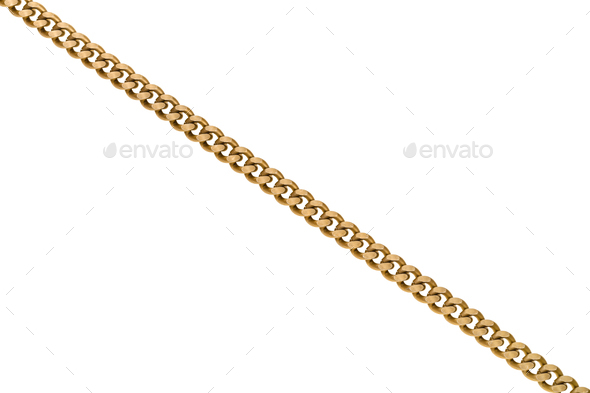 brass chain isolated on white background - Stock Photo - Images