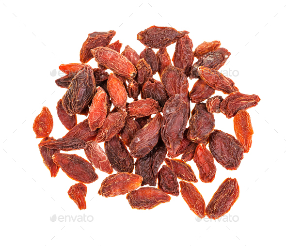 top view of pile of dried goji berries isolated - Stock Photo - Images