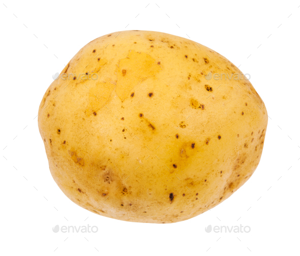 clean yellow potato tuber isolated on white - Stock Photo - Images