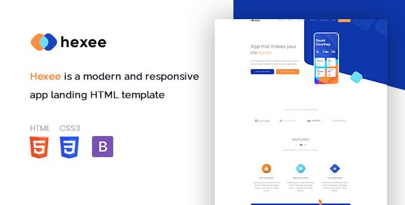 Hexee - Responsive Modern App Landing HTML Template