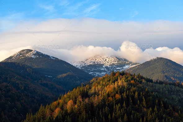 Amazing mountain landscape with colorful vivid sunrise with snow - Stock Photo - Images