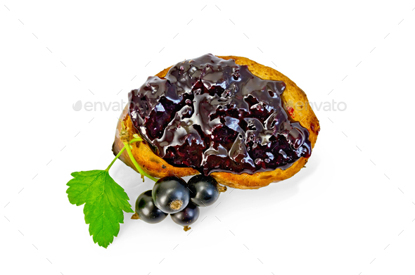 Bread with jam from blackcurrant top - Stock Photo - Images