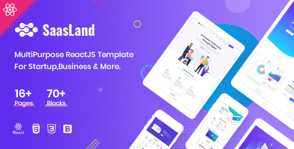 Saasland - MultiPurpose React Template For Startup Business