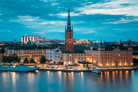 Stockholm, Sweden. Scenic View Of Stockholm Skyline At Summer Ev Stock  Photo by Grigory_bruev