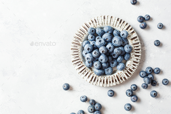 Fresh blueberries in a bowl - Stock Photo - Images