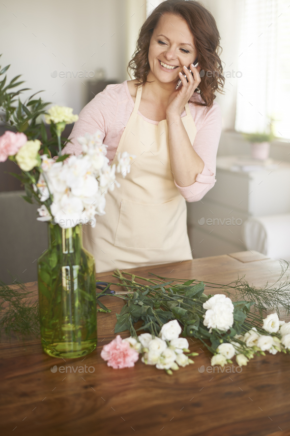Create of bouquet with white flowers - Stock Photo - Images