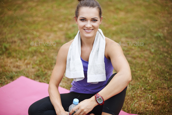 Portrait of sportswoman in the park - Stock Photo - Images