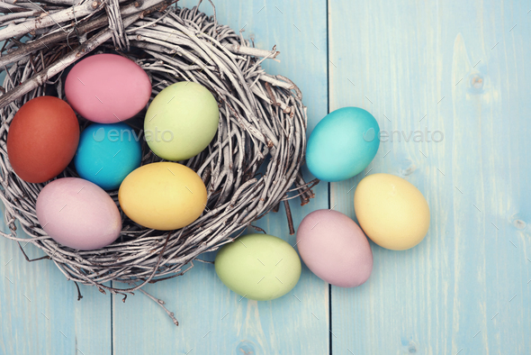 Abundance of colorful easter eggs on the table - Stock Photo - Images