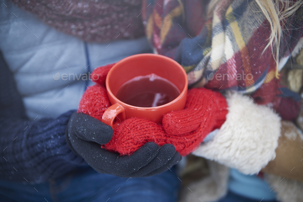 Don't forget about hot drink in winter - Stock Photo - Images