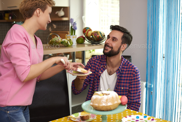 Homemade easter cake made by a housewife - Stock Photo - Images