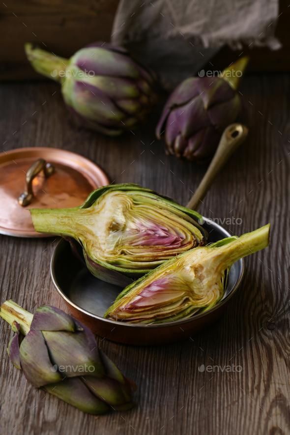 Purple Vegetables Artichokes - Stock Photo - Images