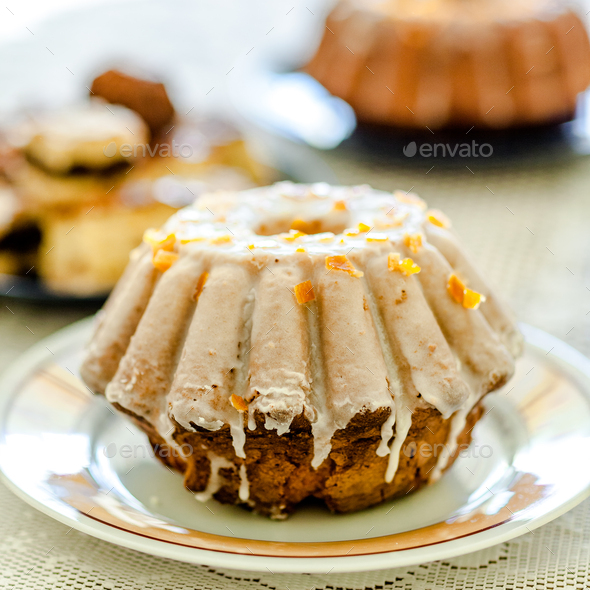 Fluffy bundt cake ideal for Easter or Christmas - Stock Photo - Images