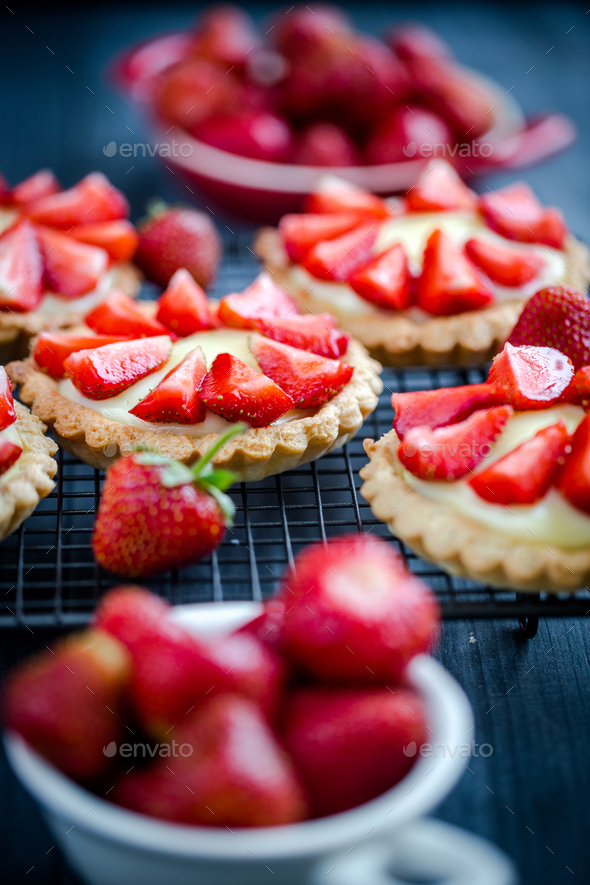 Homemade small delicious tartlets with strawberries - Stock Photo - Images