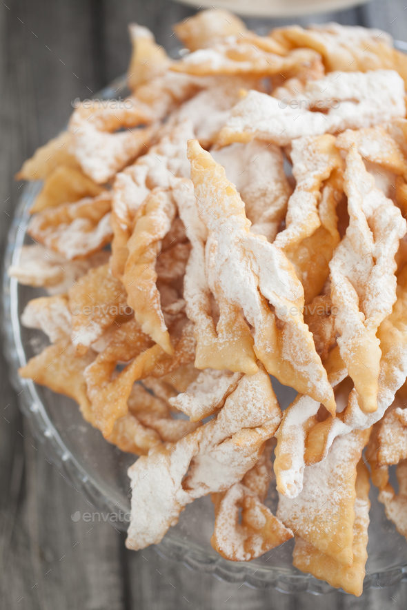 Angel wings biscuits, a traditional European sweet dish for carn - Stock Photo - Images