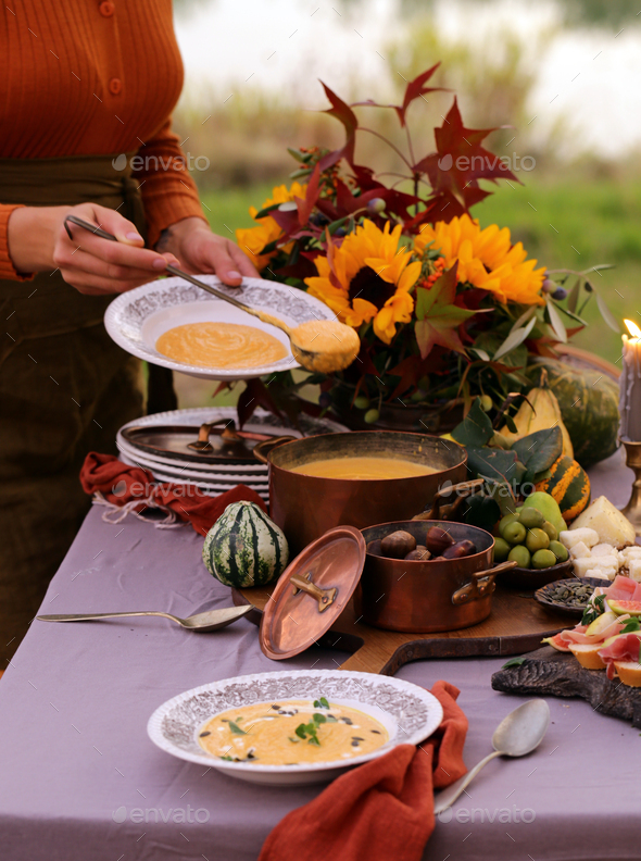 Autumn Table Setting with Pumpkin Soup - Stock Photo - Images