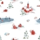 Watercolor Seamless Pattern Winter Snowy Christmas