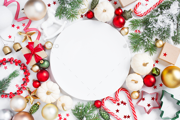 Christmas Pattern with Empty White Plate and Festive Decoration - Stock Photo - Images
