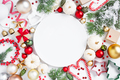 Christmas Pattern with Empty White Plate and Festive Decoration - PhotoDune Item for Sale