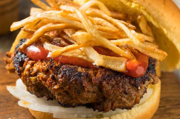 Homemade Cuban Fritas Hamburger - Stock Photo - Images