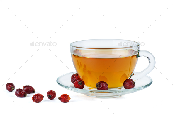 Herbal tea and dried hips berries - Stock Photo - Images