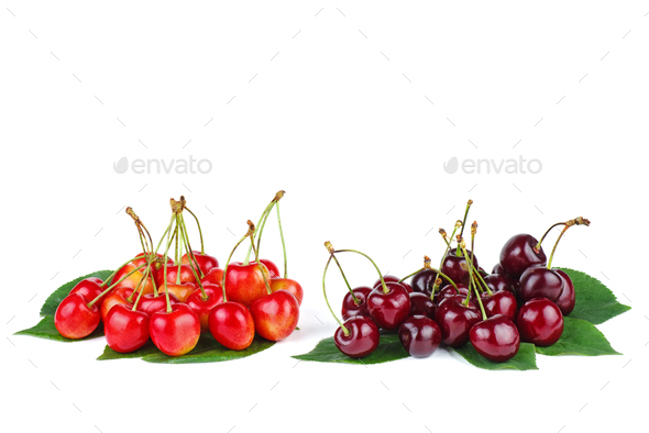 Two piles of diffrent cherries - Stock Photo - Images