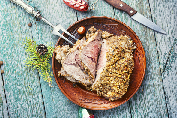 Roasted beef for Christmas - Stock Photo - Images