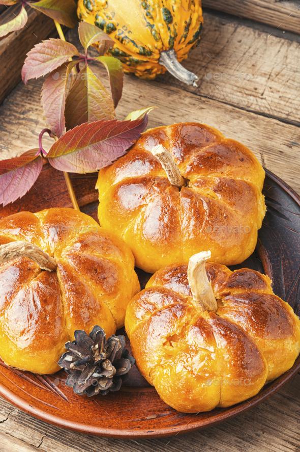 Homemade sweet pumpkin buns - Stock Photo - Images