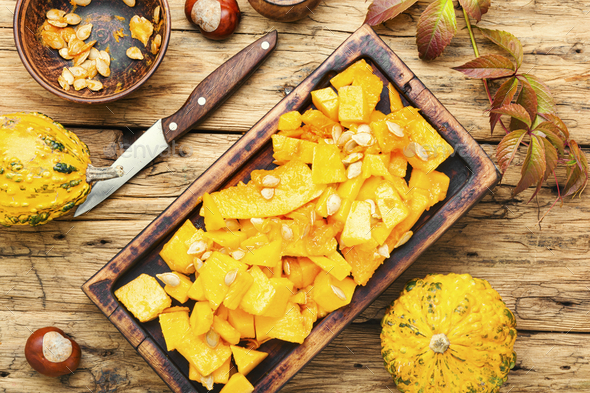 Pumpkin and ingredients for cooking - Stock Photo - Images