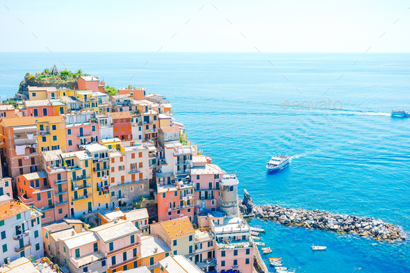 Amazing view of the beautiful village of Manarola in the Cinque Terre Reserve - Stock Photo - Images