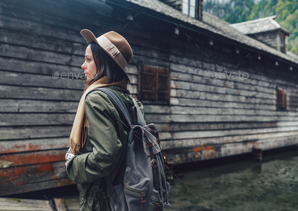 Young travel photographer outdoors - Stock Photo - Images