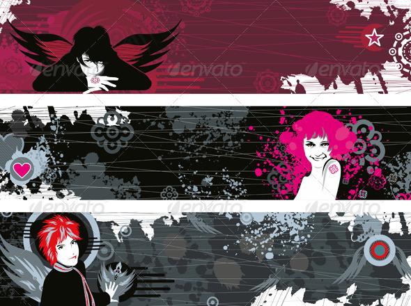 Banner Set Girl Face Grunge - Backgrounds Decorative