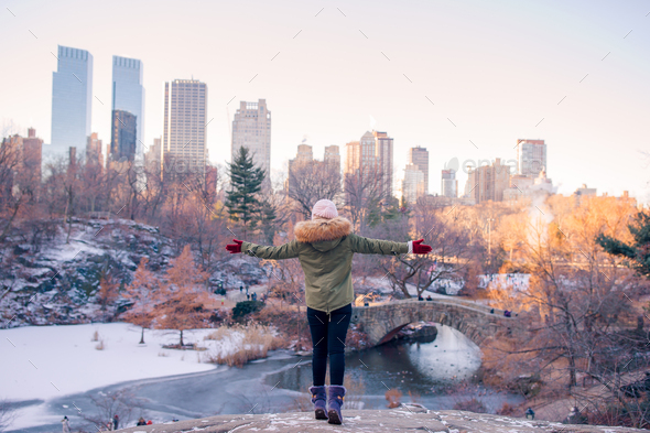 Adorable girl in Central Park at New York City - Stock Photo - Images