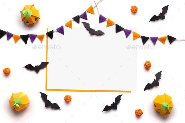 Conceptual Halloween background with holiday decorations and frame - Stock Photo - Images