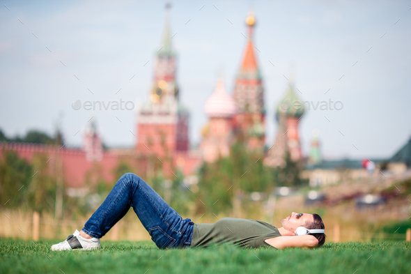 Happy young urban man enjoy his break in the city - Stock Photo - Images