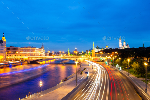Panoramic view of Moscow landmark during sunset from Zaryadye Park - Stock Photo - Images