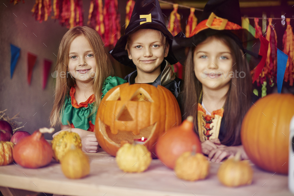we are very proud of our jack o'lantern - Stock Photo - Images
