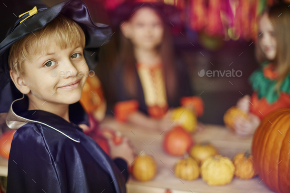 Little wizard and his helpers - Stock Photo - Images