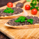 Fresh tasty bruschetta with truffle sauce, parsley and tomates - PhotoDune Item for Sale