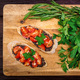 Fresh tasty bruschetta with truffle sauce, parsley and tomates. Top view - PhotoDune Item for Sale