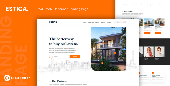 Estica — Real Estate Unbounce Landing Page Template by thememor