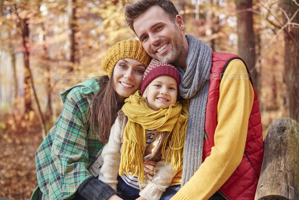 Portrait of family during the autumn - Stock Photo - Images