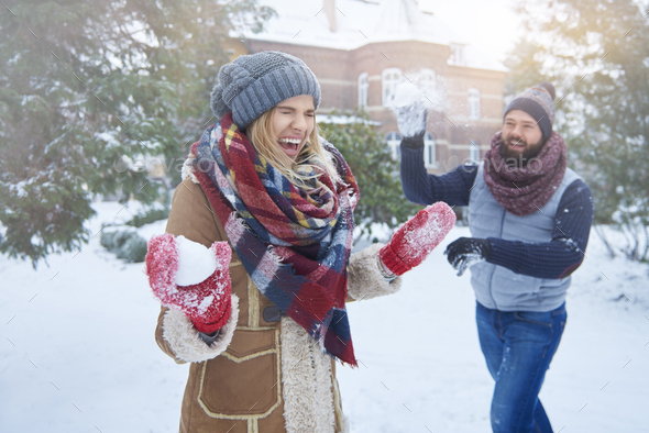 Funny moments in the winter - Stock Photo - Images