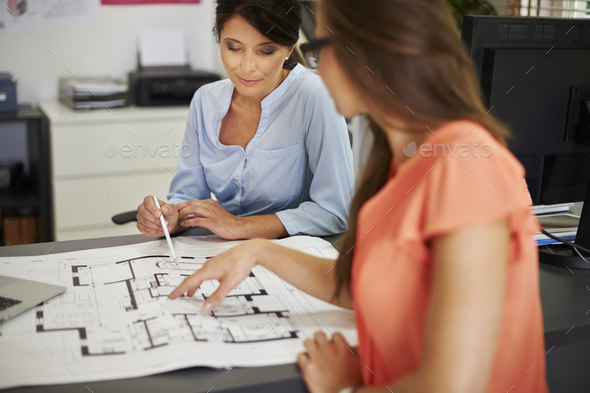 Creative women working about new project of house - Stock Photo - Images