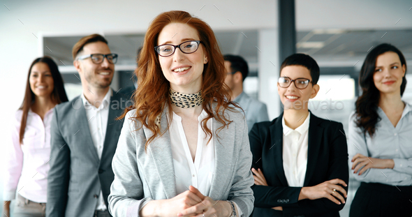 Business woman in officess representing company - Stock Photo - Images