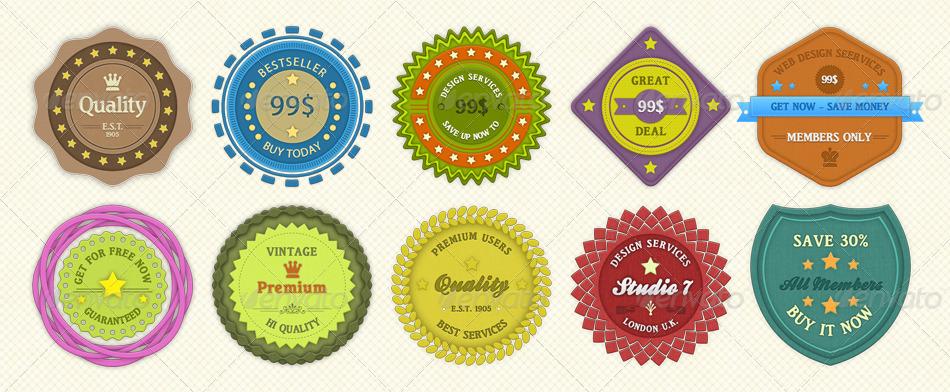 Modern Badges Vol. 1 - Badges & Stickers Web Elements